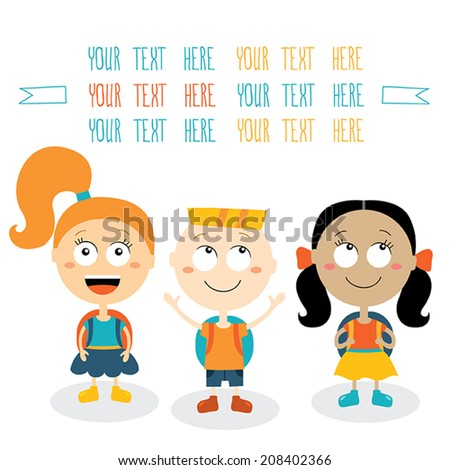 Group of happy children smiling on white background. Back to school theme. Vector cartoon characters. - stock vector