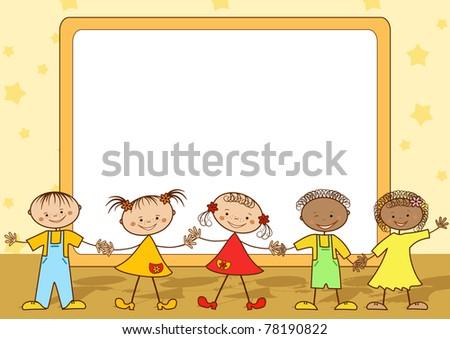 Group of happy children. Vector illustration. - stock vector
