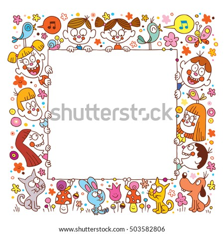group of happy kids and pets blank banner frame border. ready for your message