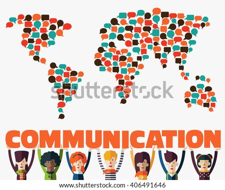Group of happy smiling young people with word Communication. Male and female faces avatars in modern design style. Communication, teamwork, assistance, interpretation and connection vector concept - stock vector