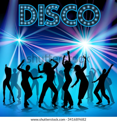 Group of happy young people dancing. Vector illustration - stock vector