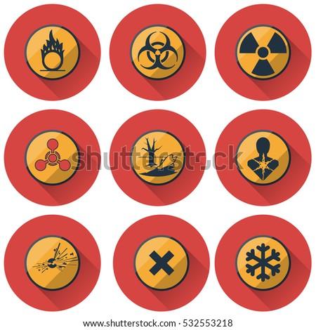 Group Hazard Symbols Biohazard Cold Warning Stock Vector 532553218