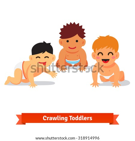 Group of infants. Baby boy toddlers having fun together crawling on the floor. Flat style vector illustration isolated on white background. - stock vector