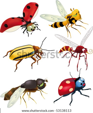 Group of insects of cartoon films - stock vector