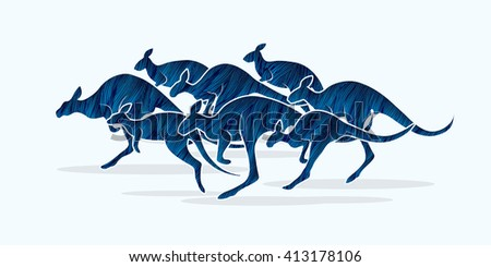 Group of Kangaroo jumping designed using blue grunge brush graphic vector.
