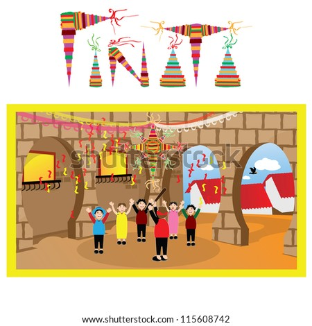 group of kids at an outdoor party hitting a pinata in a mexican town - stock vector