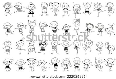 group of kidsdrawing sketch - Drawing Sketch For Kids