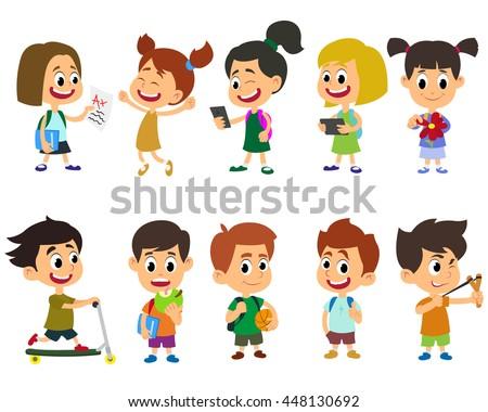 Group of kids going to school together. School kids happy character vector. - stock vector