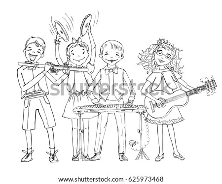 kid playing band instruments coloring pages | Group Kids Include Boy Wheelchair Playing Stock Vector ...