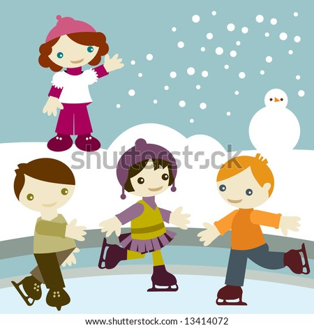 Group of kids join in winter season, playing with snow and snowman and skating in the ice - stock vector