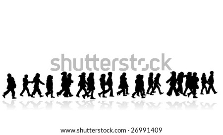 group of kids walking in line silhouette