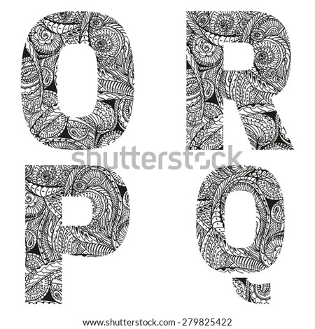 Group of  letters, vector illustration, doodle sketchy style.