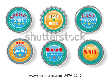 Group of luxury, isolated labels with text, white background