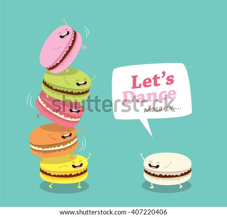 Group of macarons. Sweet funny macarons characters vector cartoon - stock vector