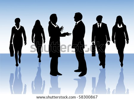 Group of male and female business people in silhouettes on blue background, walking forward, a woman and a man talking to each other.