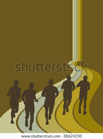 group of marathon runners - stock vector