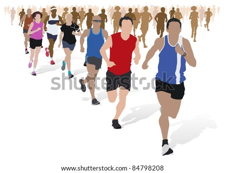 Group of Marathon Runners. - stock vector