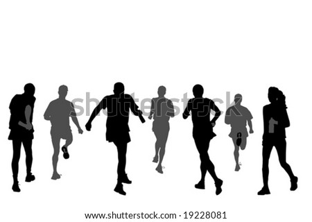 group of marathon runners,   rear view - stock vector