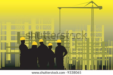 group of men standing in a construction site