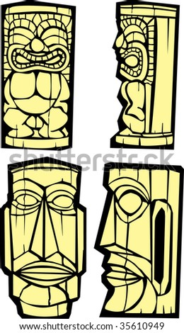 Group of mixed styled Easter Island Moai heads.