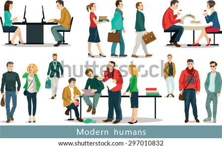 Group of modern people working in the office.  Set of vector illustrations. Isolated objects.