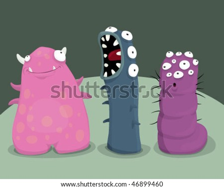 Group of monsters. - stock vector