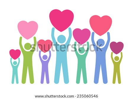 Group of, multiracial people in different age and gender holding big hearts. Concept of blood donation, giving love, help, support. Vector illustration. - stock vector