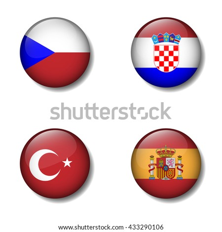 Group of Nation flag on button icon, Czech, Croatia, Turkey, Spain,Group D - stock vector