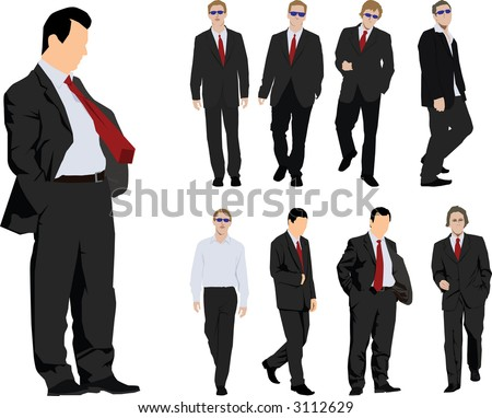 Group of nine powerful businessmen. Colour vector silhouette - stock vector