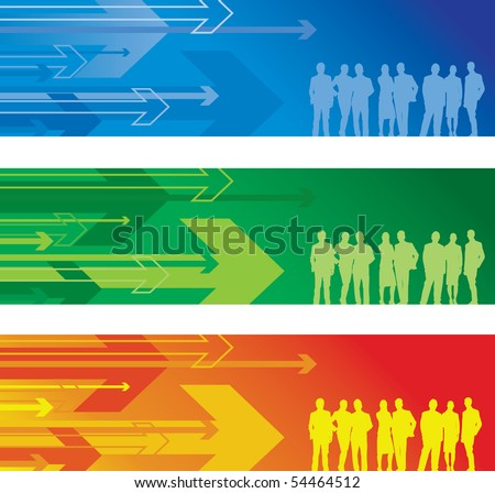 group of people abstract arrow background - stock vector