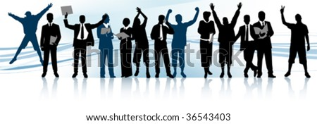 Group of people. All elements and textures are individual objects. Vector illustration scale to any size. - stock vector