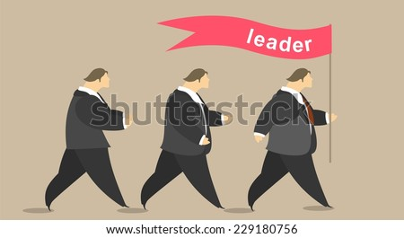 Group of people and leader marching under the banner - stock vector