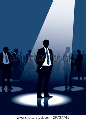 Group of people and one man selected, conceptual business illustration. - stock vector