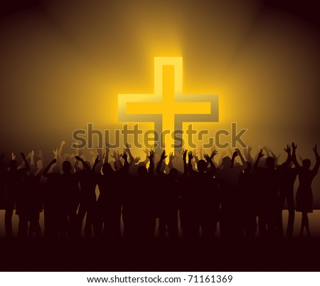 group of people around glowing Cross - stock vector