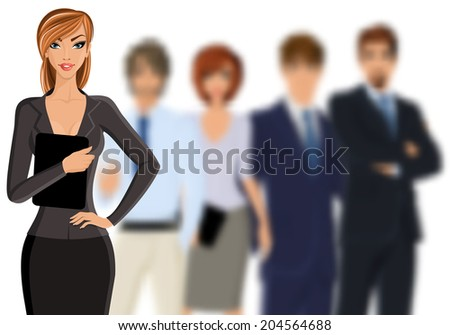 Group of people busines woman with team isolated on white vector illustration