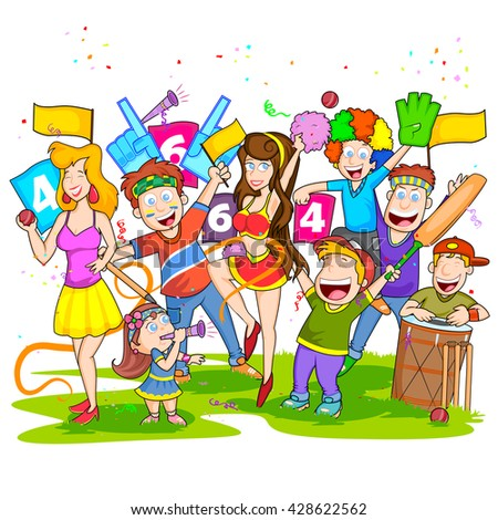 Group of people cheering for cricket match in vector - stock vector