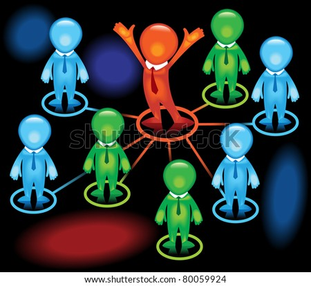 group of people connected Computer network among themselves - stock vector