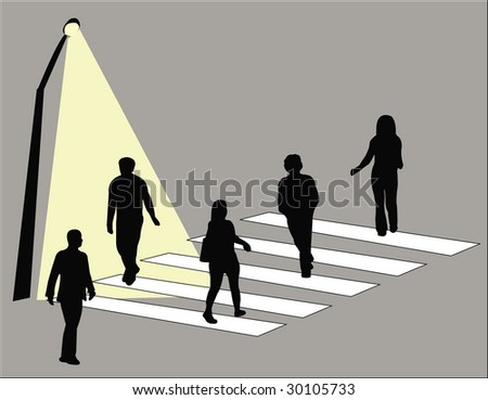 Group of people crossing the street-upper - stock vector