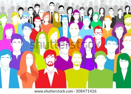 Group of People Face Big Crowd Diverse Ethnic Colorful Flat Vector illustration - stock vector
