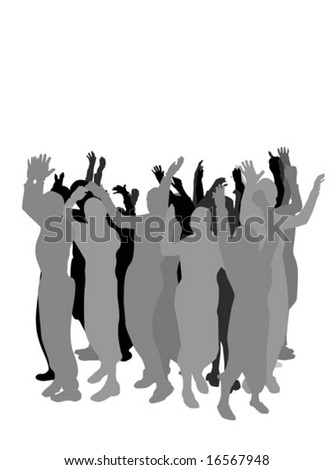 group of  people hand waving - stock vector