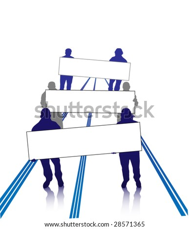 group of people holding a banner - stock vector