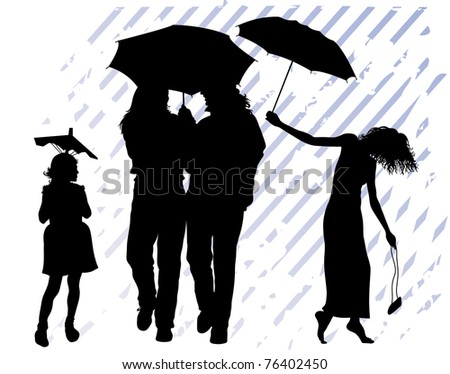 Group of people holds umbrellas. It is raining.