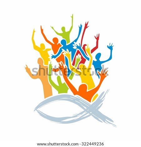 Group of people, Jesus, icon, church group - stock vector