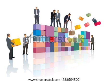 Group of people make the company, builds their own business.  - stock vector
