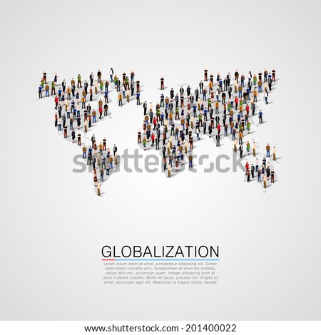 Group of people making a earth planet map shape. Globalization, population, social concept. World crowd. Vector illustration - stock vector