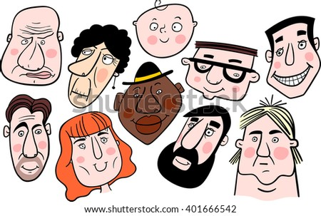 Group of people. Mosaic of cartoon faces. Vector. - stock vector