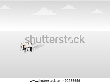 Group of people on empty withe background - stock vector