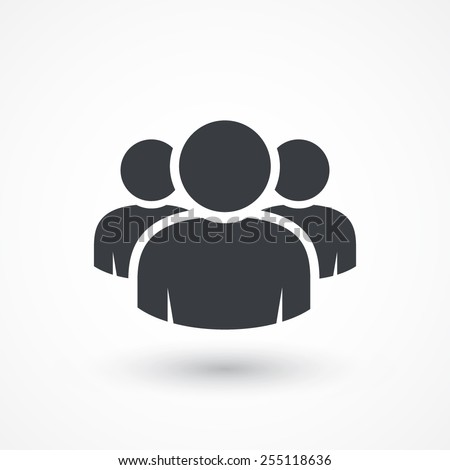 Group of people sign icon. Share symbol. Button with soft shadow. Modern UI website navigation. Social icons - stock vector