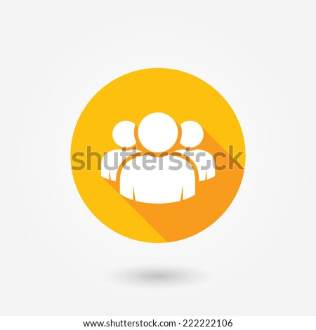 Group of people sign icon. Share symbol. Circle flat button with shadow. Modern UI website navigation. Social icons - stock vector