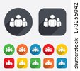 Group of people sign icon. Share symbol. Circles and rounded squares 12 buttons. Vector - stock